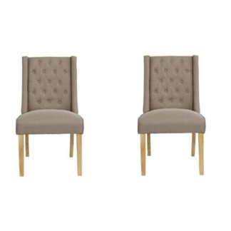 An Image of Verona Beige Finish Dining Chairs In Pair