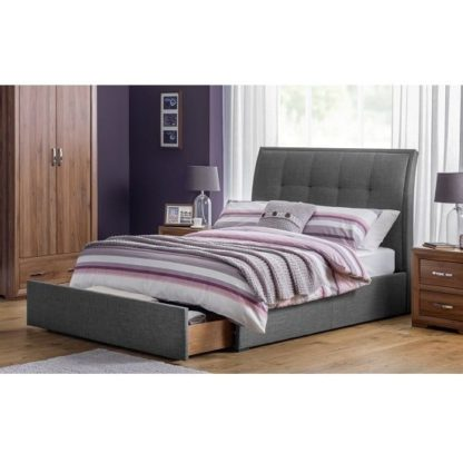 An Image of Aramis Fabric King Size Bed In Slate Grey Linen With Drawer