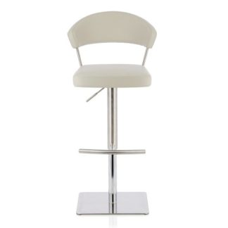 An Image of Abilio Bar Stool In Grey Faux Leather And Stainless Steel Base