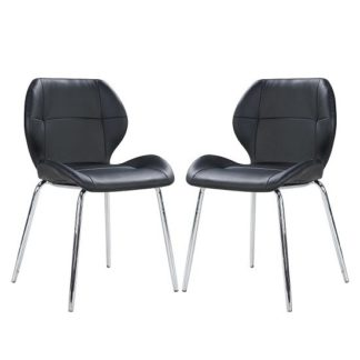 An Image of Darcy Dining Chair In Black Faux Leather in A Pair