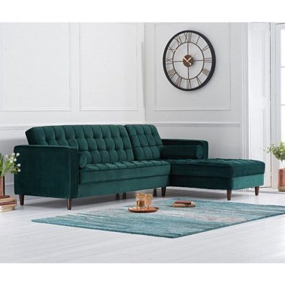 An Image of Centaurus Right Handed Velvet Sofa Bed In Green