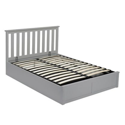 An Image of Augusto Wooden King Size Ottoman Bed In Grey