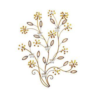 An Image of Bronze Metal Branch Jeweled Flowers 6 Tealight Holder Wall Art