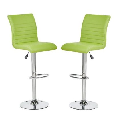 An Image of Ripple Bar Stools In Lime Green Faux Leather In A Pair