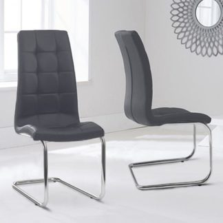 An Image of Liesma PP Grey Dining Chairs In Pair With Hoop Leg