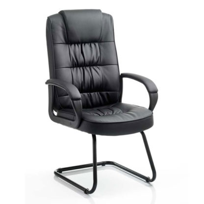An Image of Moore Leather Cantilever Visitor Chair In Black With Arms