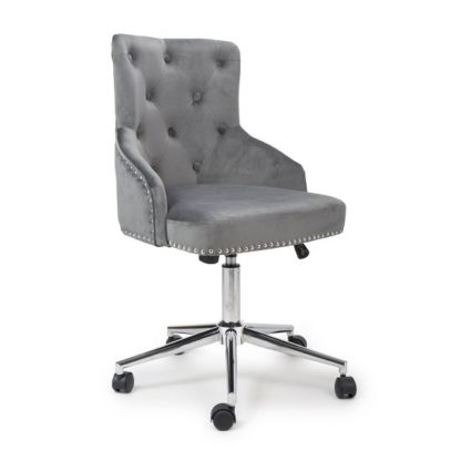 An Image of Calico Office Chair In Grey Brushed Velvet With Chrome Base
