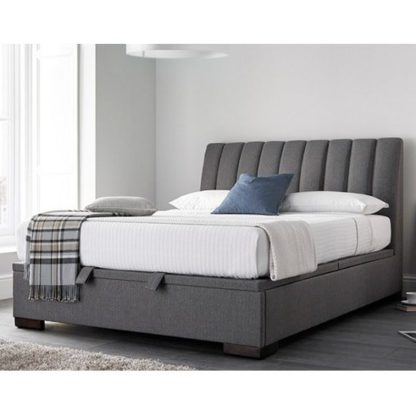 An Image of Texas Fabric Ottoman Storage Double Bed In Grey