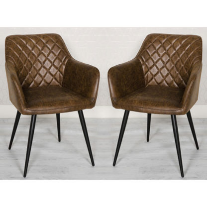 An Image of Charlie Antique Brown Faux Leather Carver Dining Chair In A Pair
