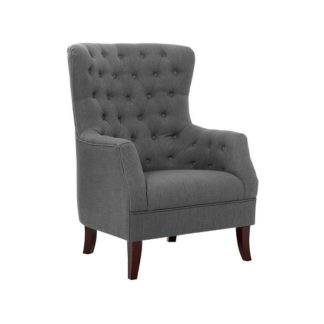 An Image of Hayward Arm Chair In Grey Linen With Birch Wood Legs