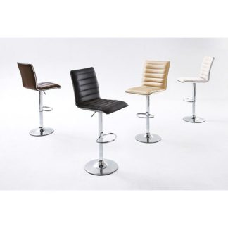 An Image of Maren Ribbed Bar Stool In Brown Faux Leather With Chrome Base