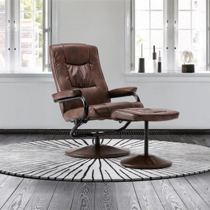 An Image of Maison Relaxing Swivel Chair With Footstool In Tan Faux Leather