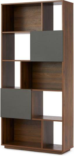 An Image of Hopkins Narrow Bookcase, Walnut Effect & Grey