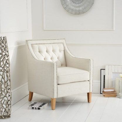 An Image of Bellard Fabric Sofa Chair In Ivory White With Natural Ash Legs