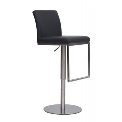 An Image of Bahama Bar Stool In Grey PU With Brushed Stainless Steel Base