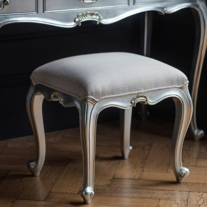 An Image of Chic Dressing Stool In Silver With Cotton Seat