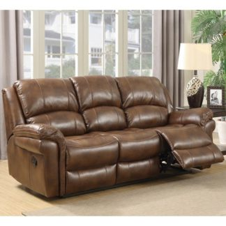 An Image of Claton Recliner 3 Seater Sofa In Tan Faux Leather