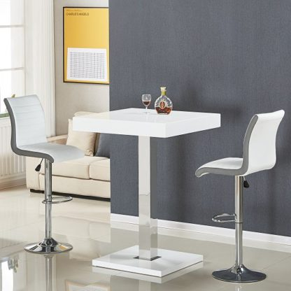 An Image of Topaz Bar Table In White Gloss With 2 Ritz White Grey Stools
