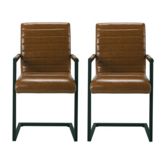 An Image of Montana Brown Finish Carver Dining Chairs In Pair