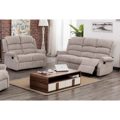 An Image of Tegmine Fabric 3 Seater Sofa And 2 Seater Sofa Suite In Natural
