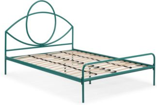 An Image of Josefa Double Bed, Teal Metal
