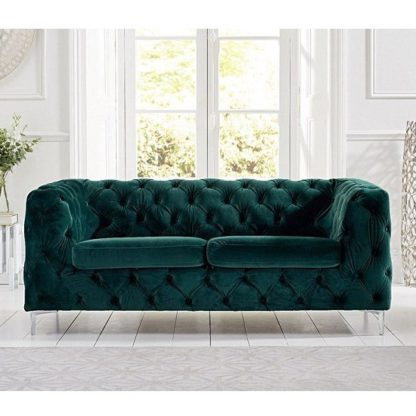 An Image of Sabine Velvet Two Seater Sofa In Teal Green With Metal Legs