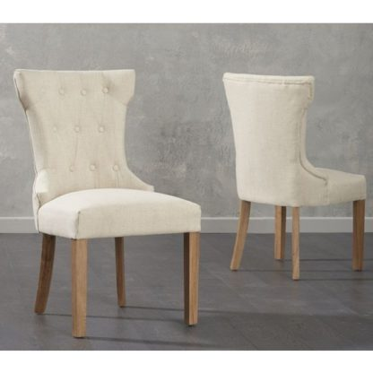 An Image of Camelopardalis Beige Fabric Dining Chairs In Pair
