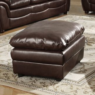An Image of Fernando Full Bonded Leather Sofa Stool In Brown