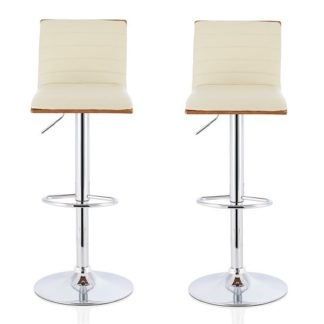 An Image of Morsun Bar Stools In Walnut And Cream PU In A Pair