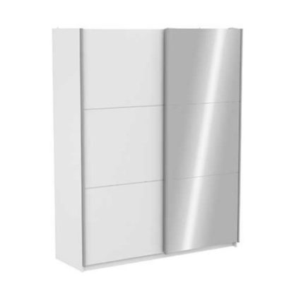An Image of Selsey Mirrored Sliding Wardrobe In Matt White With 2 Doors