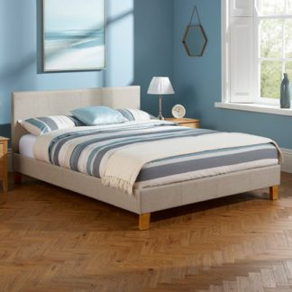 An Image of Sophia Linen Fabric Upholstered Super King Size Bed