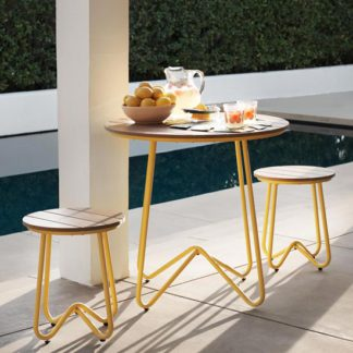 An Image of Novogratz Bobbi Bistro Set In Yellow With 2 Stools