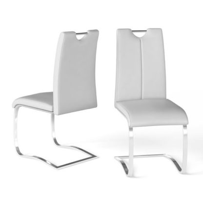 An Image of Gabi White Faux Leather Dining Chair In A Pair