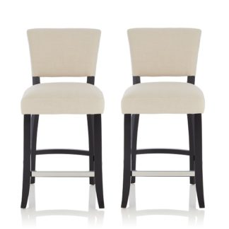 An Image of Stacia Bar Stools In Linen Fabric And Black Legs In A Pair