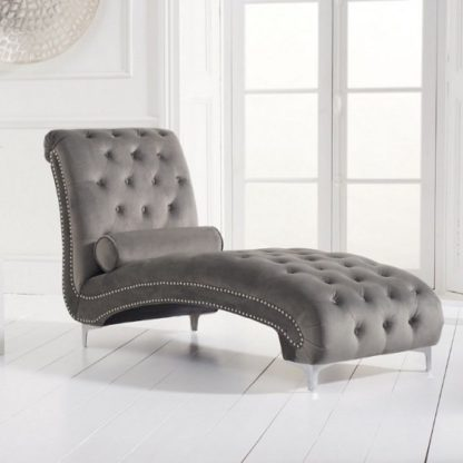 An Image of Mulberry Modern Fabric Lounge Chaise In Grey Velvet