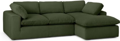 An Image of Samona Right Hand Facing Chaise End Sofa, Sage Corduroy Velvet