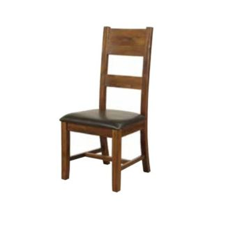 An Image of Ross Ladderback Faux Leather Dining Chair In Acacia Finish