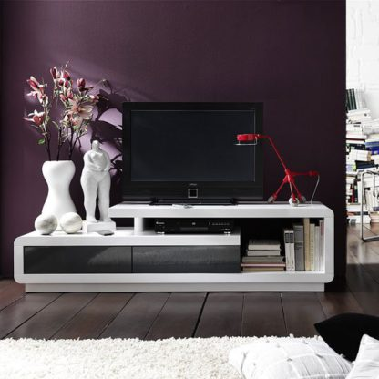 An Image of Celia High Gloss Plasma TV Stand With 2 Drawer In White And Grey