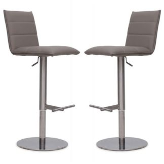 An Image of Verlo Bar Stools In Taupe Faux Leather In A Pair