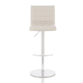 An Image of Jorden Bar Stool In Taupe Faux Leather And Stainless Steel Base