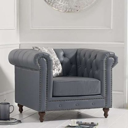 An Image of Propus Leather Lounge Chaise Armchair In Ivory