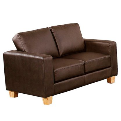 An Image of Wasp PU Leather 2 Seater Sofa In Brown