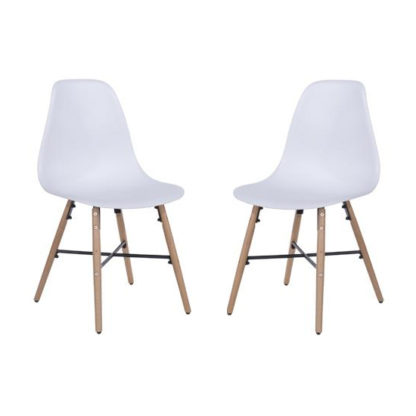 An Image of Arturo White Bistro Chair In Pair With Oak Wooden Legs