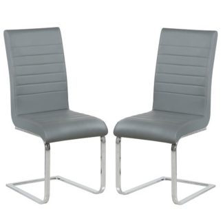 An Image of Symphony Dining Chair In Grey Faux Leather In A Pair