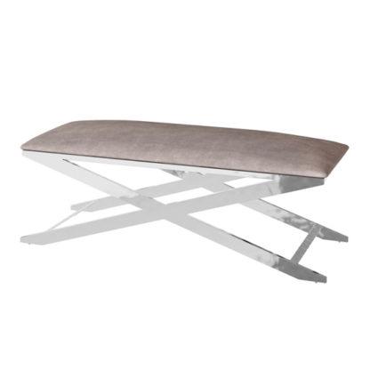 An Image of Vertue Velvet Fabric Upholstered Dining Bench In Mink