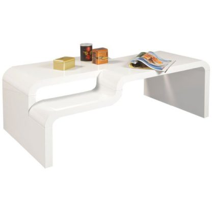 An Image of Pedro Rectangular Coffee Table In White High Gloss