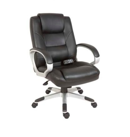 An Image of Daren Home Office Chair In Black PU Leather And Massage Function