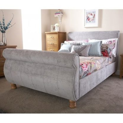 An Image of Chicago Fabric Upholstered Double Bed In Silver