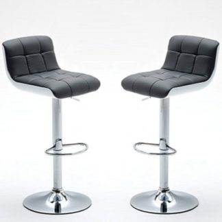 An Image of Bob Bar Stools In Grey Faux Leather in A Pair