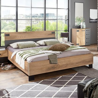 An Image of Malmo Wooden Small Double Bed In Planked Oak And Graphite